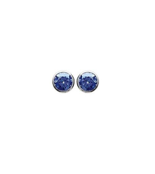 Boucles doreilles en argent 925/1000 rhodié et pierre de synthèse bleue, avec poussettes (diamètre  5 mm)