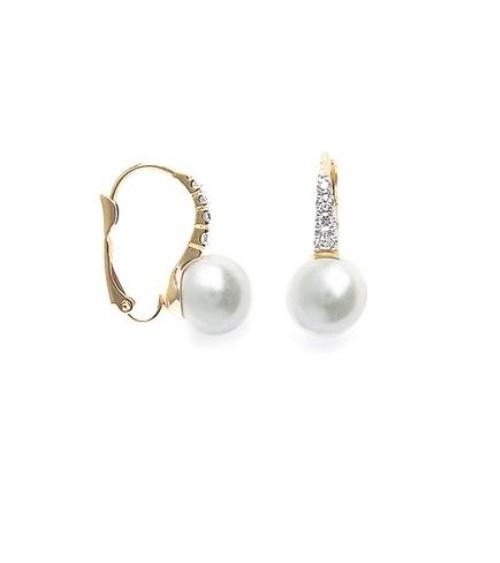 """Boucles d'oreilles en plaqué or, oxydes de zirconium blancs et perle synthétique. Fermeture """"dormeuse"""""""