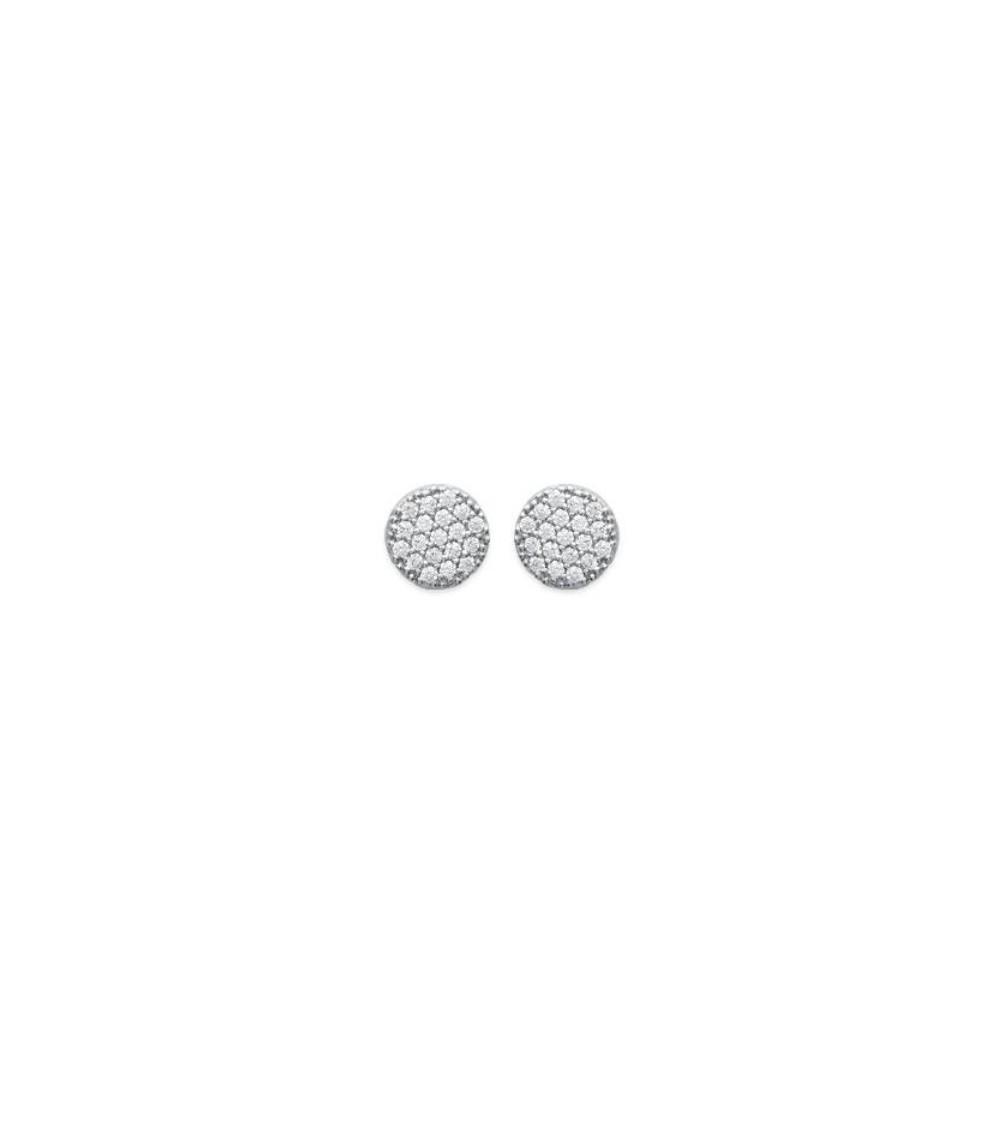 Boucles d'oreilles plates rondes en argent 925/1000 rhodié et oxydes de zirconium blancs, avec poussettes