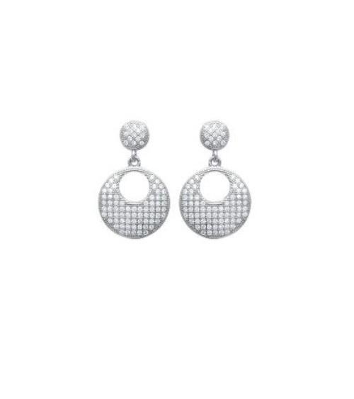 Boucles d'oreilles pendantes en argent 925/1000 rhodié et oxydes de zirconium micro sertis, avec poussettes