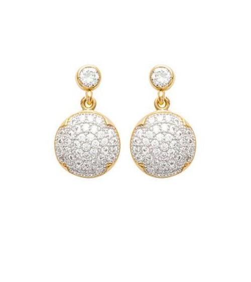 Boucles d'oreilles pendantes en plaqué or et oxydes de zirconium blancs micro sertis