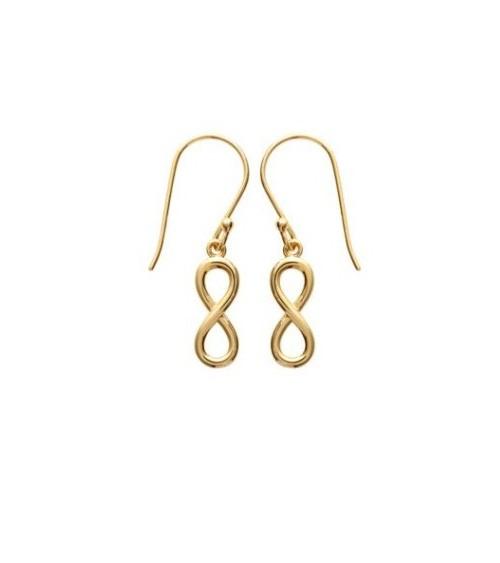 """Boucles d'oreilles en plaqué or à motif """"infini"""", avec crochets"""