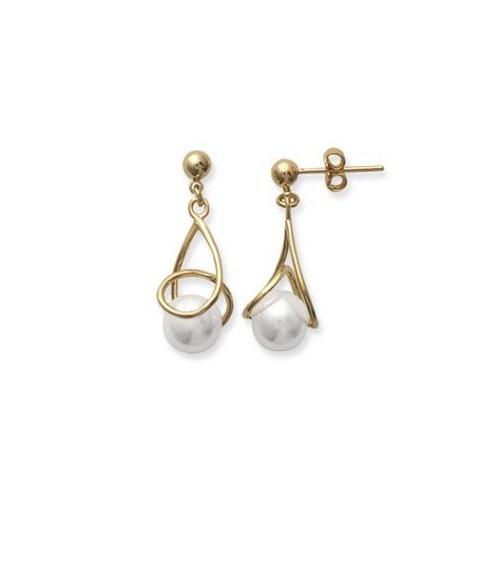 Boucles d'oreilles en plaqué or et perle synthétique, avec poussettes
