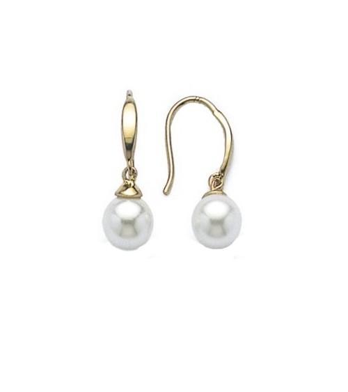 Boucles d'oreilles en plaqué or et perle synthétique, avec crochets