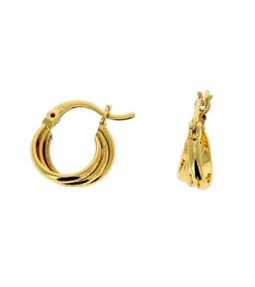 Boucles d'oreilles créoles en plaqué or  torsadées en diamètre 13 mm