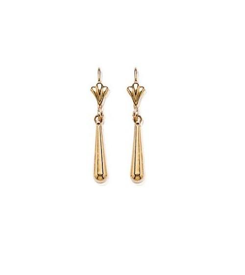 """Boucles d'oreilles pendantes en plaqué or avec fermeture """"dormeuse"""""""