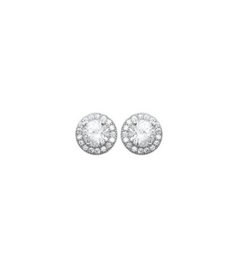Boucles d'oreilles en argent 925/1000 rhodié et oxydes de zirconium blancs, avec poussettes