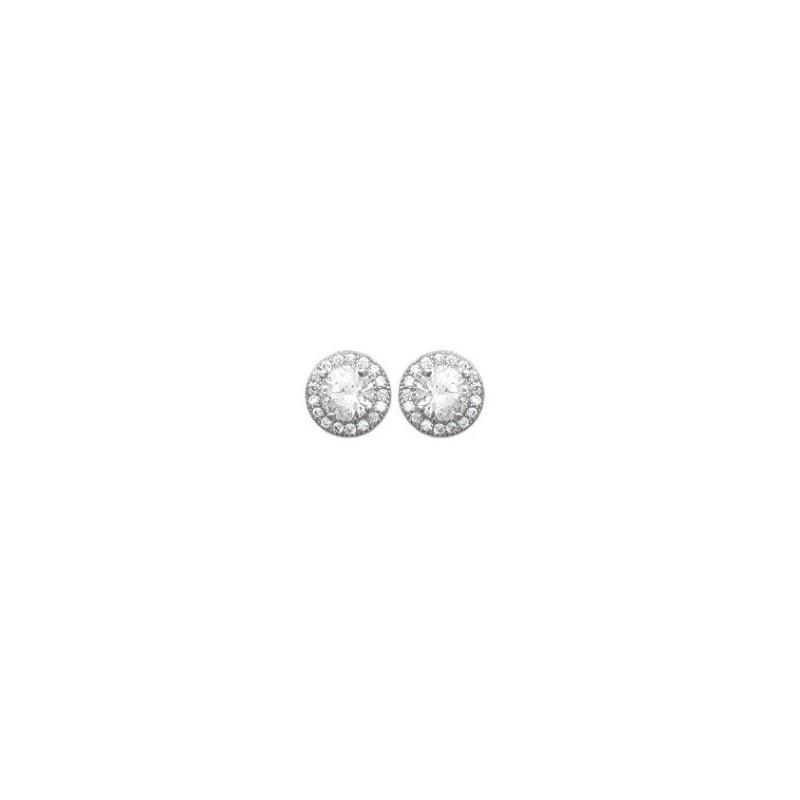 Boucles d'oreilles en argent 925/1000 rhodié et oxydes de zirconium blancs, avec poussettes
