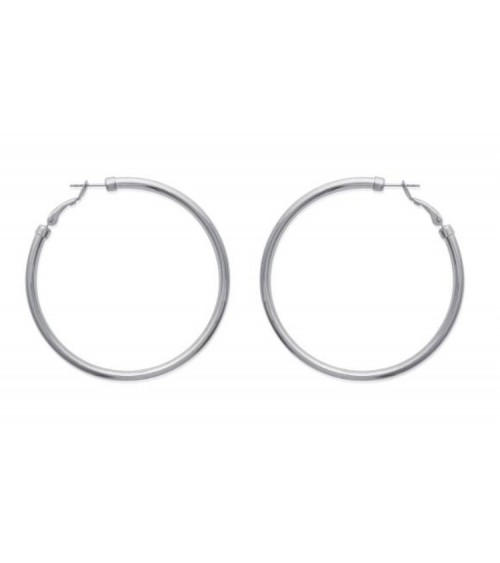 Boucles d'oreilles créoles en acier diamètre 70 mm (épaisseur 3mm)