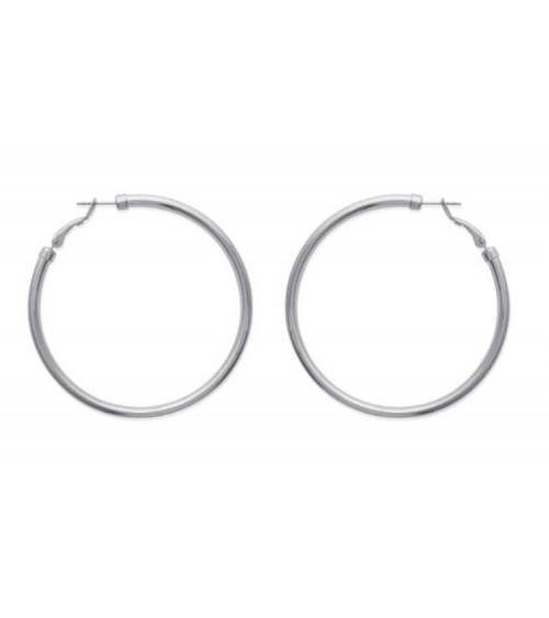 Boucles d'oreilles créoles en acier diamètre 70 mm (épaisseur 3mm)