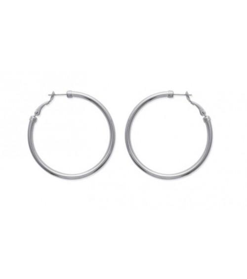 Boucles d'oreilles créoles en acier diamètre 50 mm (épaisseur 3 mm)