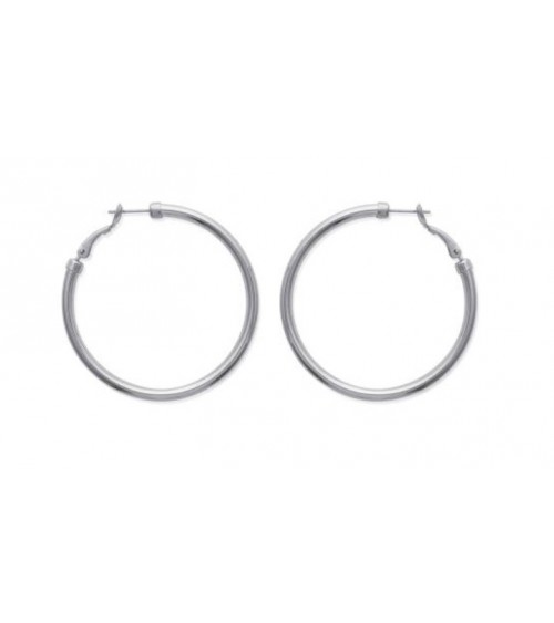 Boucles d'oreilles créoles en acier diamètre 60 mm (épaisseur 3 mm)