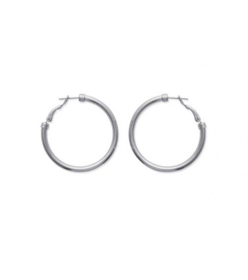 Boucles d'oreilles créoles en acier diamètre 40 mm (épaisseur 3 mm)
