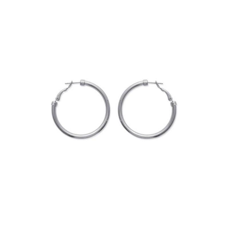 Boucles d'oreilles créoles en acier diamètre 40 mm (épaisseur 3 mm)