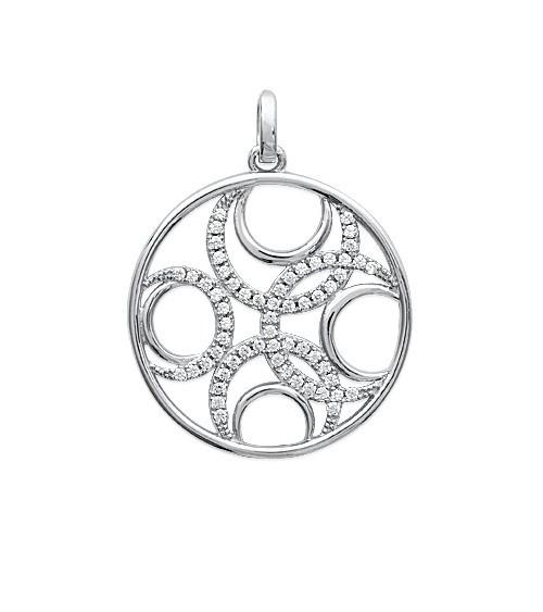Pendentif seul rond avec formes géométriques, en argent 925/1000 ème rhodié et oxydes de zirconium blancs