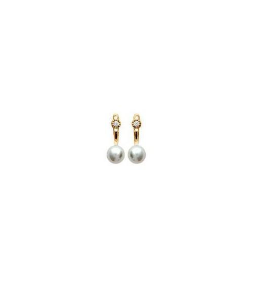 """Boucles d'oreilles """"contour d'oreilles"""" en plaqué or, et perle synthétique, avec poussettes"""