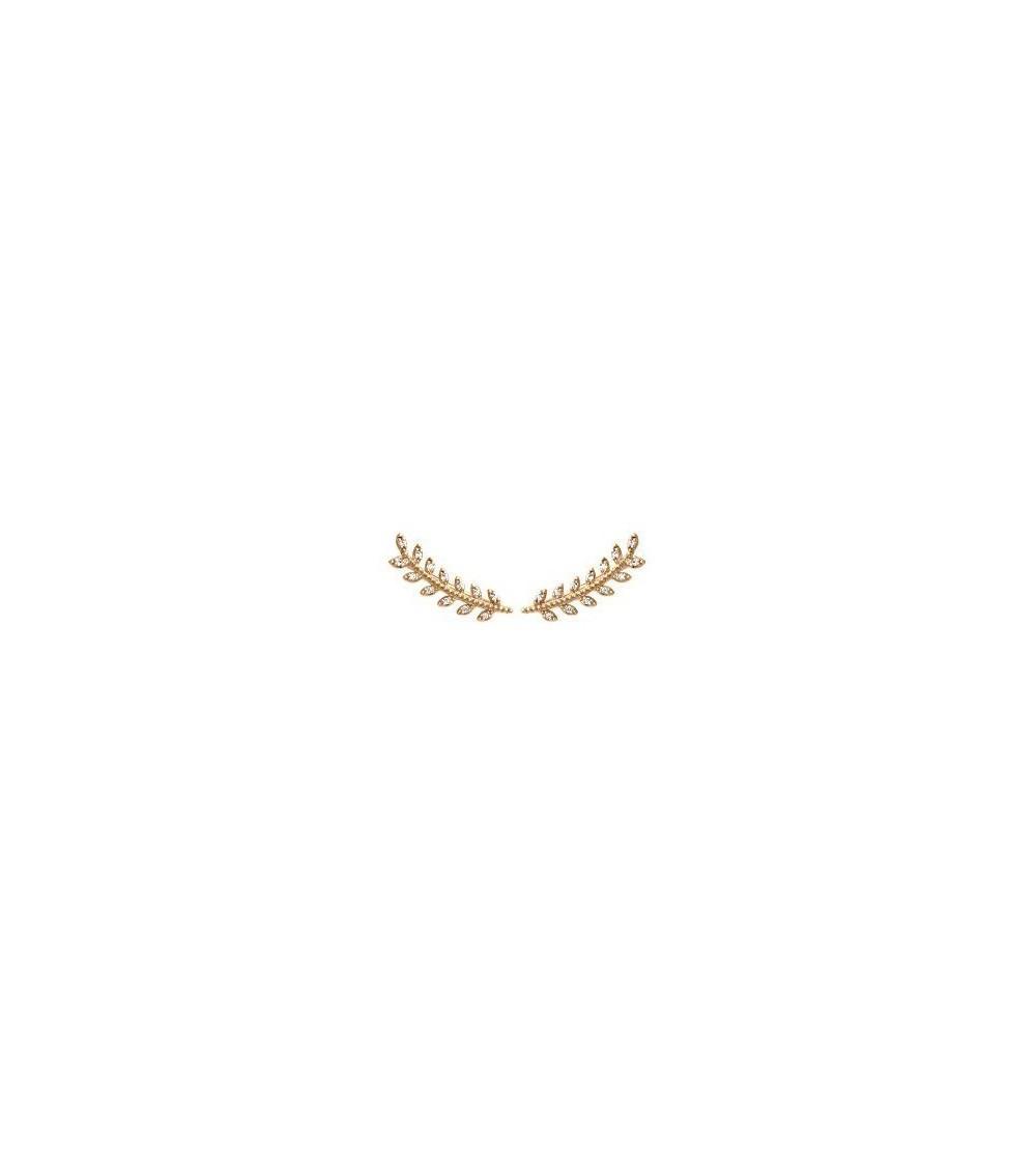 """Boucles d'oreilles """"contours d'oreilles"""" motif épi en plaqué or et oxydes de zirconium blancs"""
