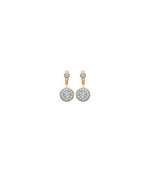 "Boucles d'oreilles ""contour d'oreilles"" en plaqué or et oxydes de zirconium blancs, avec poussettes"