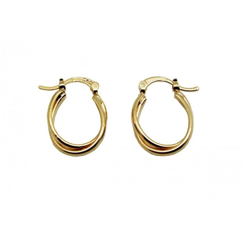 Boucles d'oreilles créoles double anneau ovale torsadé lisse, en plaqué or