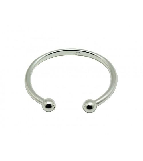 Bracelet rigide en argent 925/1000 ouvert avec à chaque extrémité une boule