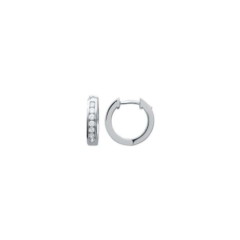 Boucles d'oreilles créoles en argent 925/1000 rhodié et oxydes de zirconium blancs