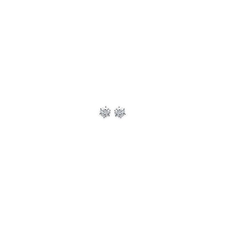 Boucles d'oreilles en argent 925/1000 rhodié et oxydes de zirconium blancs à 6 griffres, avec poussettes