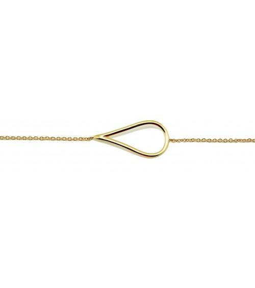 Gourmette en plaqué or avec motif poire horizontale, en longueur 18 cm