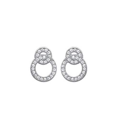 Boucles d'oreilles double anneau en argent 925/1000 rhodié et oxydes de zirconium blancs microsertis, avec poussettes