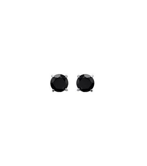 Boucles d'oreilles en argent 925/1000 rhodié et oxydes de zirconium noirs, avec poussettes (diamètre 5 mm)