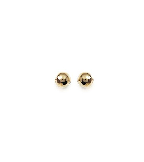 """Boucles d'oreilles """"boule"""" en plaqué or, avec poussettes (5 mm)"""