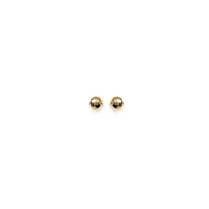 Boucles D Oreilles Boule En Plaque Or Avec Poussettes 5 Mm