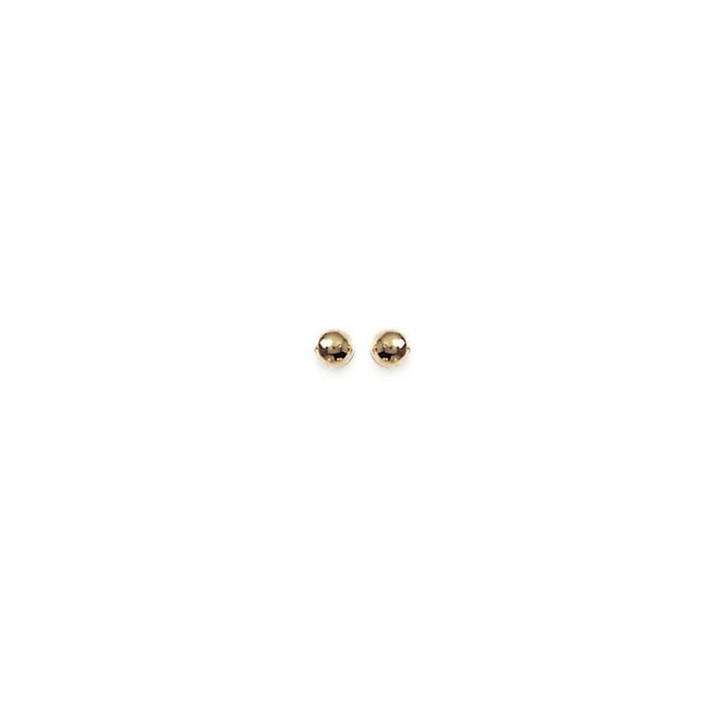 """Boucles d'oreilles """"boule"""" en plaqué or, avec poussettes (4 mm)"""