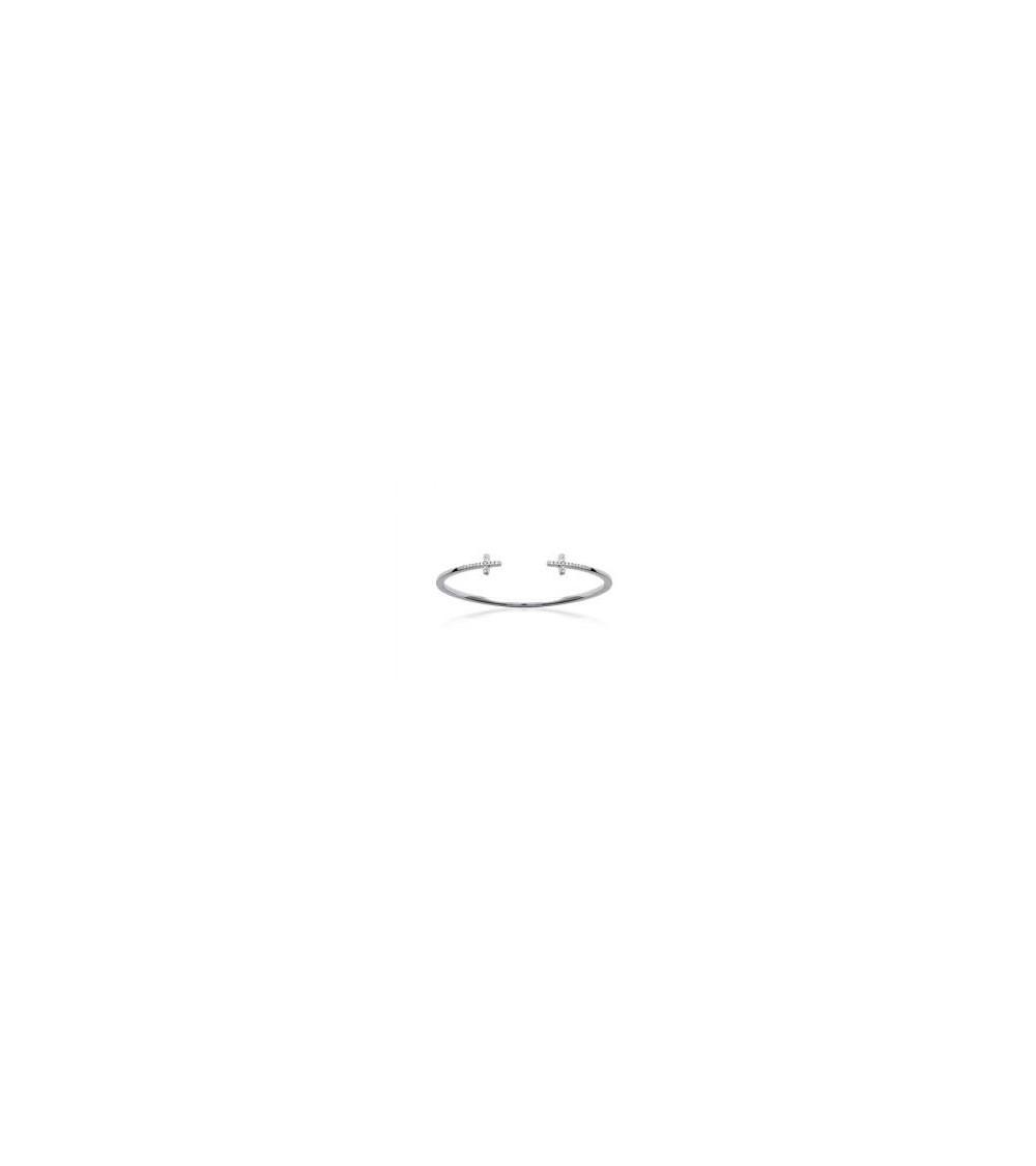 """Bracelet rigide en argent 925/1000  ouvert avec chaque extrémité un motif """"croix horizontale"""" avec oxydes de zirconium"""