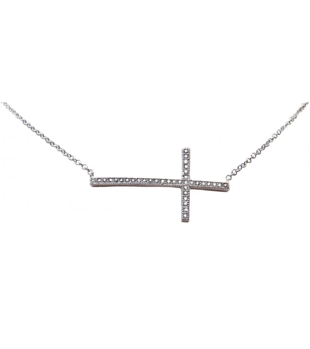 """Collier ras de cou """"croix horizontale"""" en argent 925 et oxydes de zirconium blancs micro sertis, ajustable"""