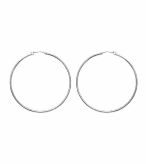 Boucles d'oreilles créoles en acier diamètre 60 mm