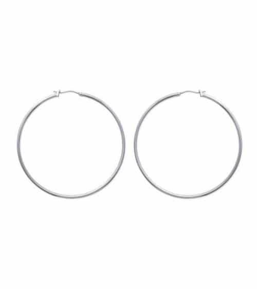 Boucles d'oreilles créoles en acier diamètre 60 mm