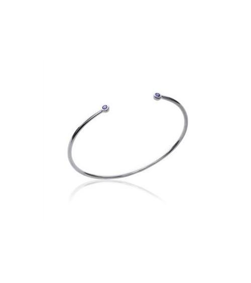 Bracelet rigide en argent 925/1000 rhodié ouvert avec chaque extrémité un oxyde de zirconium violet