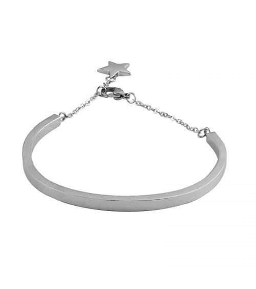 Bracelet rigide en acier agrémenté d'une étoile