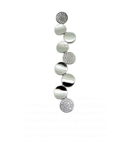 Pendentif en argent 925/1000 rhodié composé de petits ronds lisses incurvés et d'autres avec oxydes de zirconium