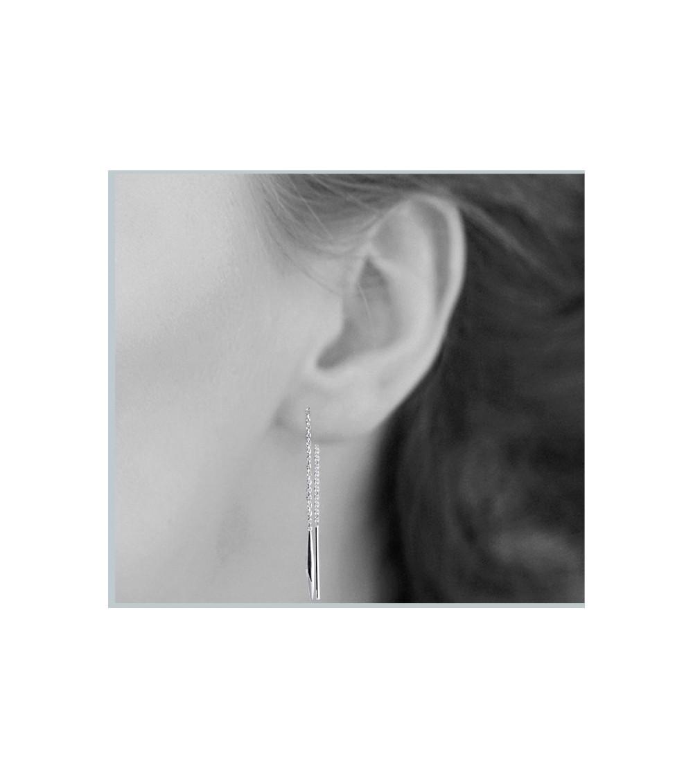 """Boucles d'oreilles """"traversantes"""" en argent 925/1000 rhodié"""