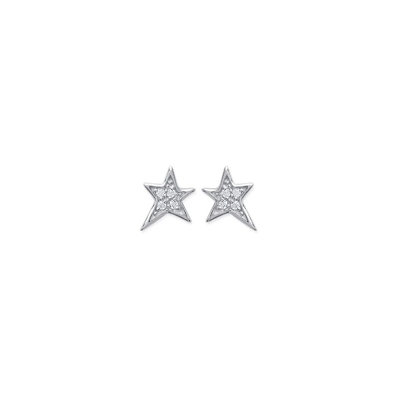 """Boucles d'oreilles """"étoile"""" en argent 925/1000 rhodié et oxydes de zirconium blancs, avec poussettes"""
