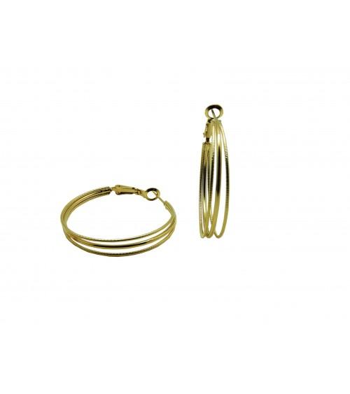 Boucles d'oreilles créoles en plaqué or, en diamètre 40 mm