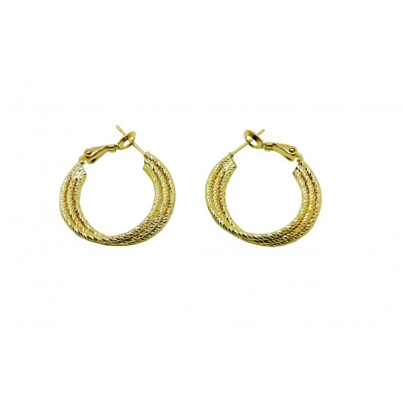 Boucles d'oreilles créoles en plaqué or torsadées, en diamètre 25 mm