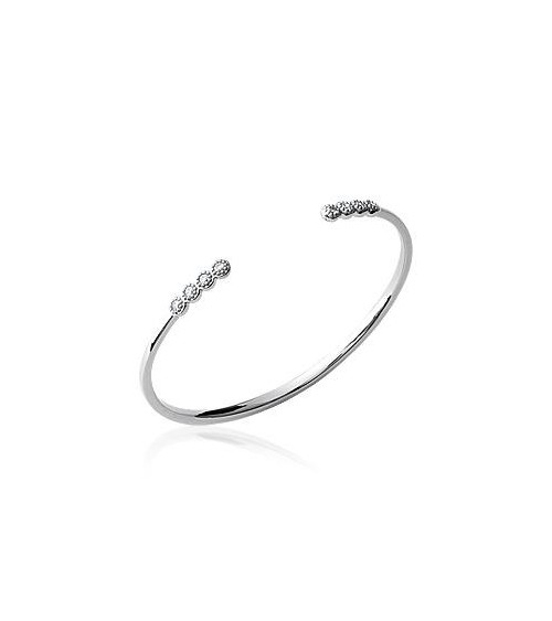 Bracelet rigide en argent 925/1000 rhodié ouvert avec chaque extrémité 4 petits ronds avec oxydes de zirconium