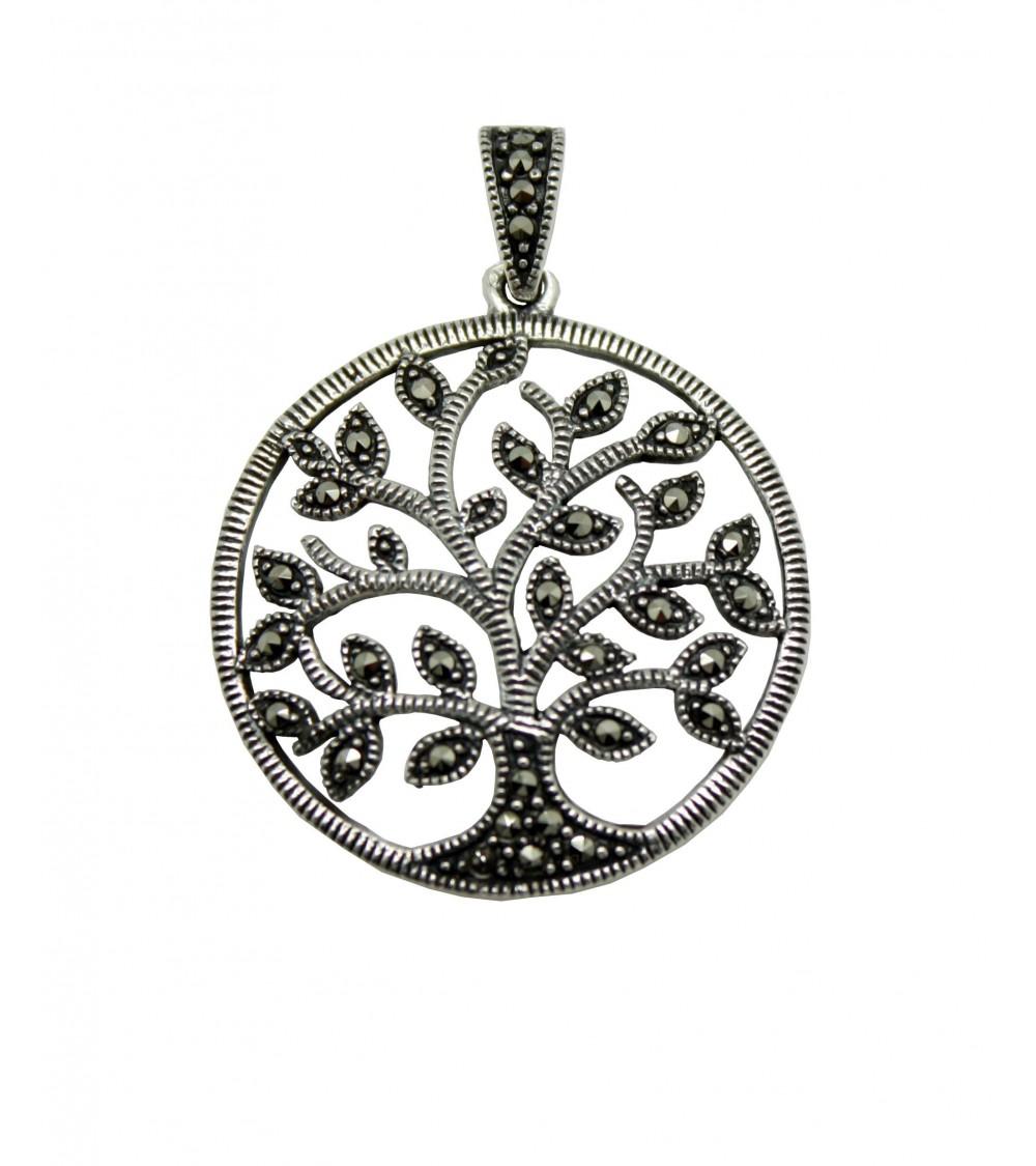 """Pendentif seul en argent 925/1000 ème et marcasite avec motif """"arbre de vie"""""""