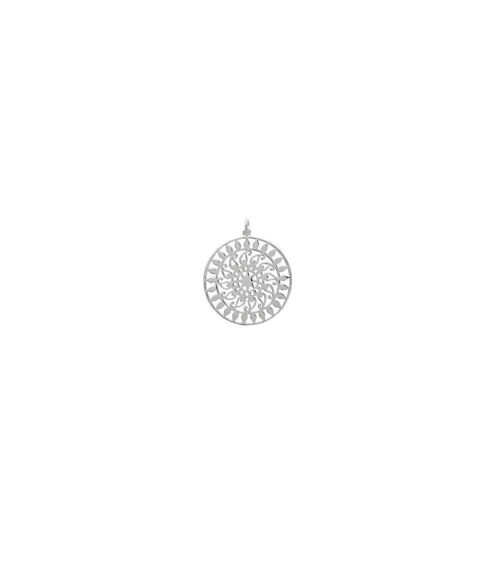 """Pendentif seul en argent 925/1000 rhodié à motif """"soleil""""(voir chaine vendue séparément)"""