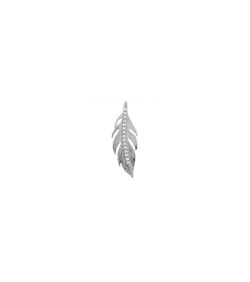 """Pendentif """"plume"""" seul en argent 925/1000 rhodié et oxydes de zirconium (voir chaine vendue séparément)"""