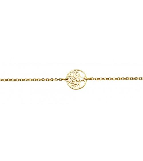 """Bracelet """"arbre de vie"""" en plaqué or en longueur 18,5 cm"""