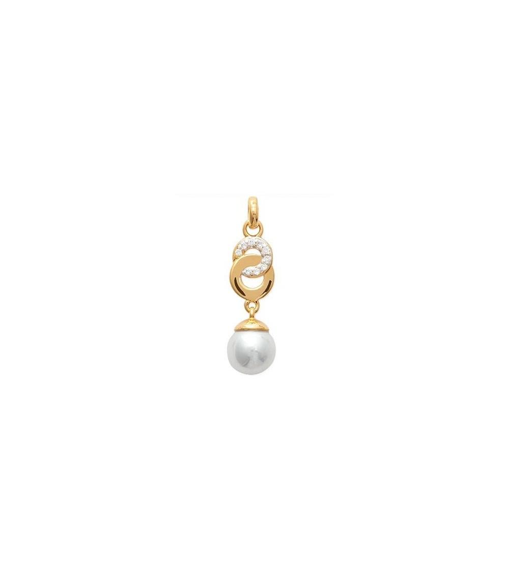 Pendentif seul en plaqué or avec double anneau entrelacé avec un serti d'oxydes de zirconium