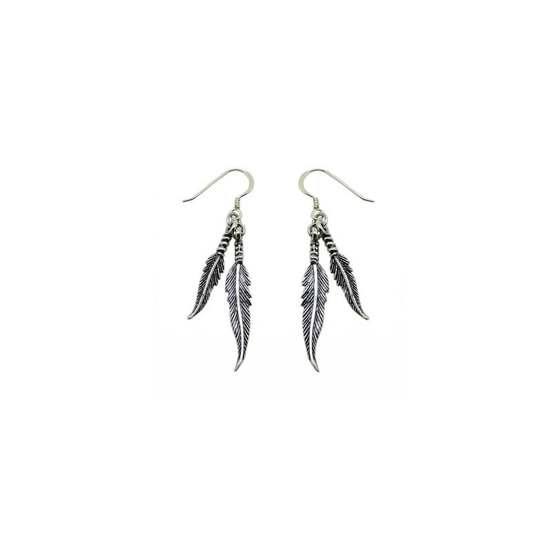 """Boucles d'oreilles """"double plume"""" en argent 925/1000, avec crochets"""
